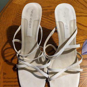 Nine West White Sandals - Size 8